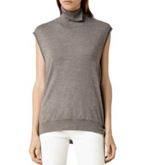 1c4b530153 All Saints Sweaters - AllSaints Women s Grey Alna Funnel Neck Top